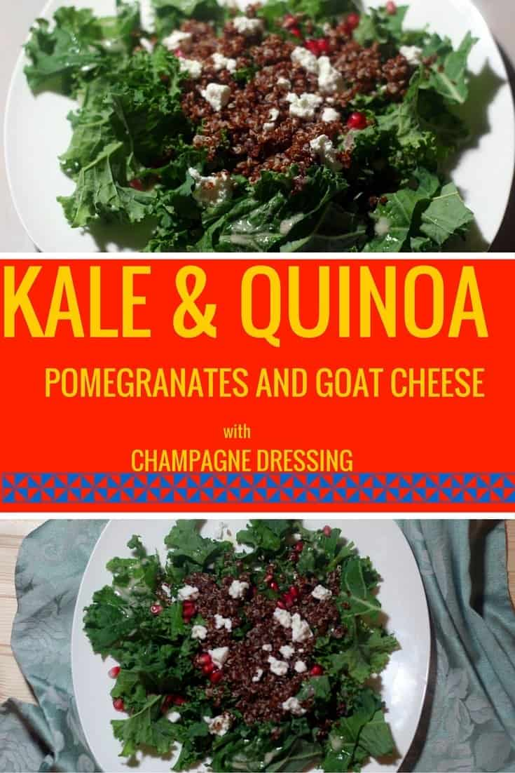 kale quinoa salad with pomegranates and goat cheese