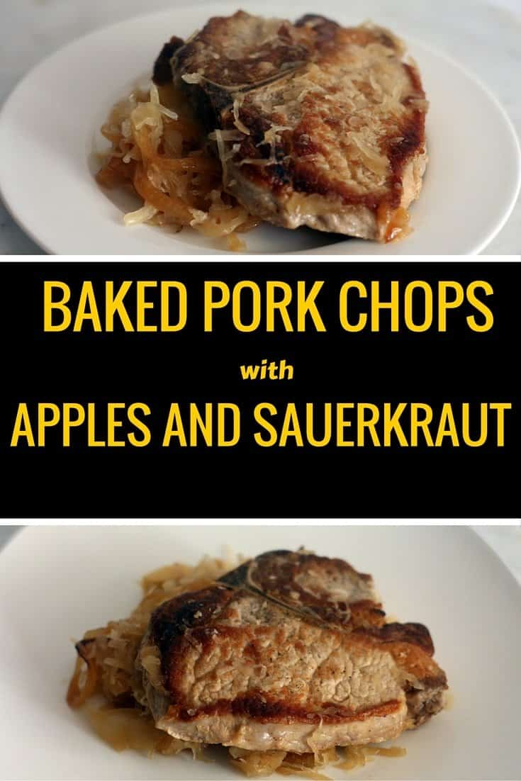 An aerial view pork chops with apples and sauerkraut