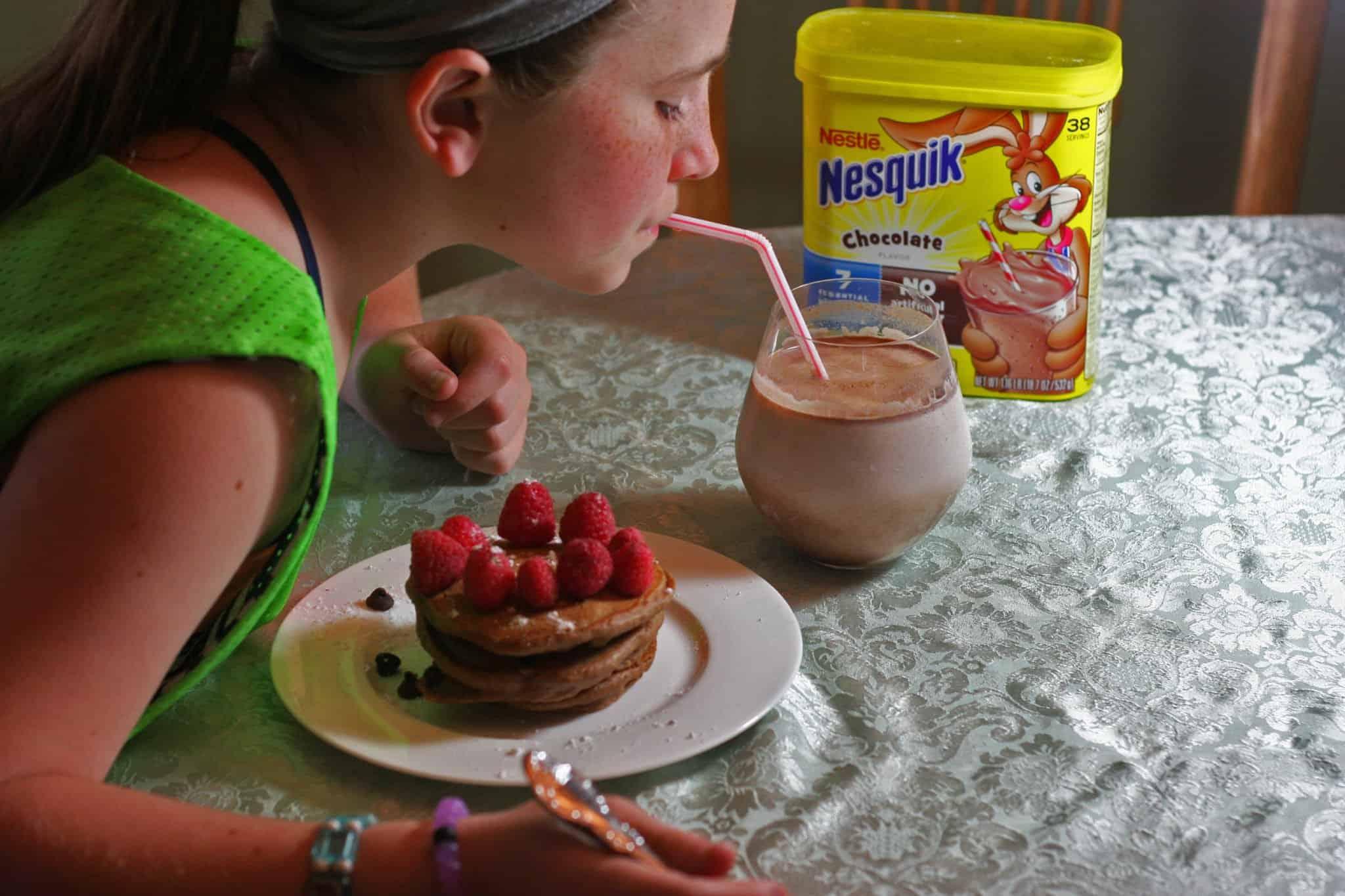 double chocolate milk pancakes