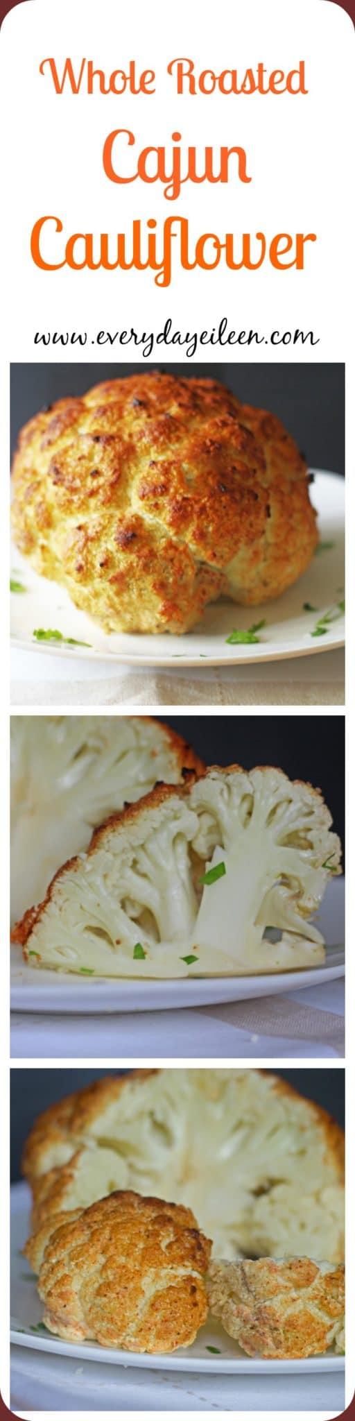 whole roasted cajun cauliflower