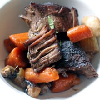 pot roast and veggies braised in red wine