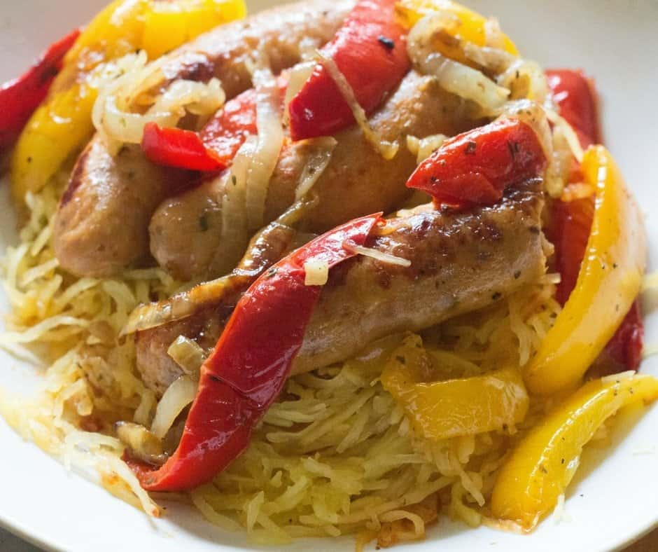 sheet-pan-chicken-sausage-with-peppers-and-onions-over-spaghetti-squas