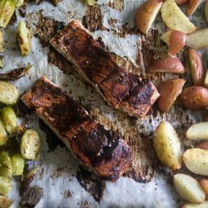 sheet pan balsamic glazed salmon potatoes and Brus