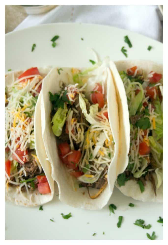 shredded Mexican beef taco