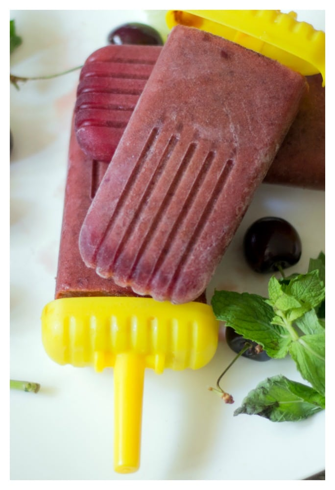 healthy sugar free cherry lime ice popsicles