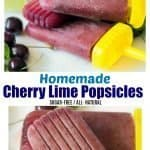 Homemade popsicles made with cherries for a sugar-free tasty treat.