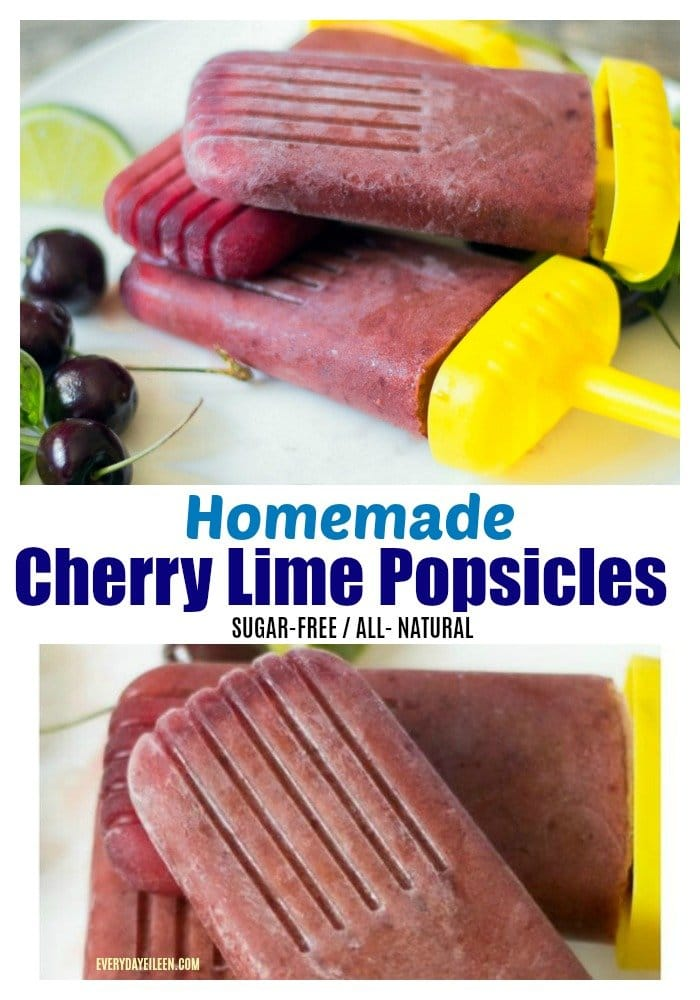 Homemade popsicles made with cherries for a sugar-free tasty treat. via @everydayeileen