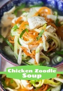 pinterest photo of chicken zoodle soup in a bowl
