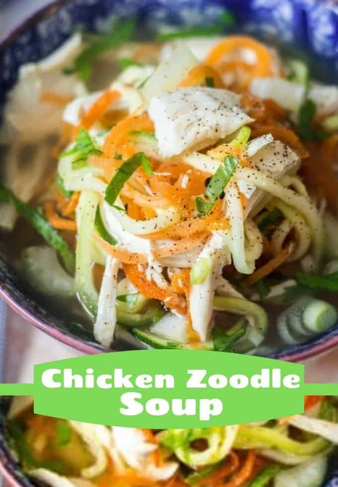 Homemade Low Carb Chicken Zoodle Soup, an easy keto recipe filled with nutritious veggies and ready in less than 30 minutes. #everydayeileen #keto #chickenzoodlesoup #zoodles via @/everydayeileen/