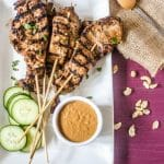 grilled chicken marinated with a spicy marinade and a peanut dipping sauce
