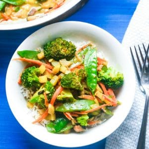 coconut rice and vegetables - vegetarian meal