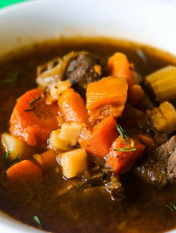 Savory guinness beef stew with tender beef and vegetables. Perfect comfort food