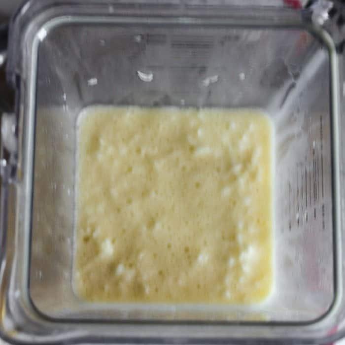 making the filling of tasty coconut custard pie