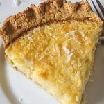 delicious slice of old fashioned coconut custard pie