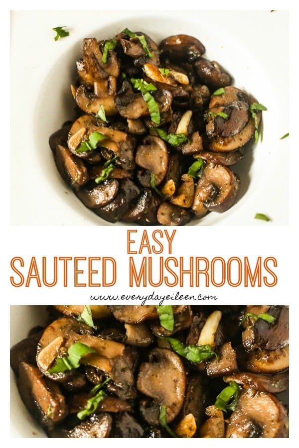 collage of sauteed mushrooms in white wine
