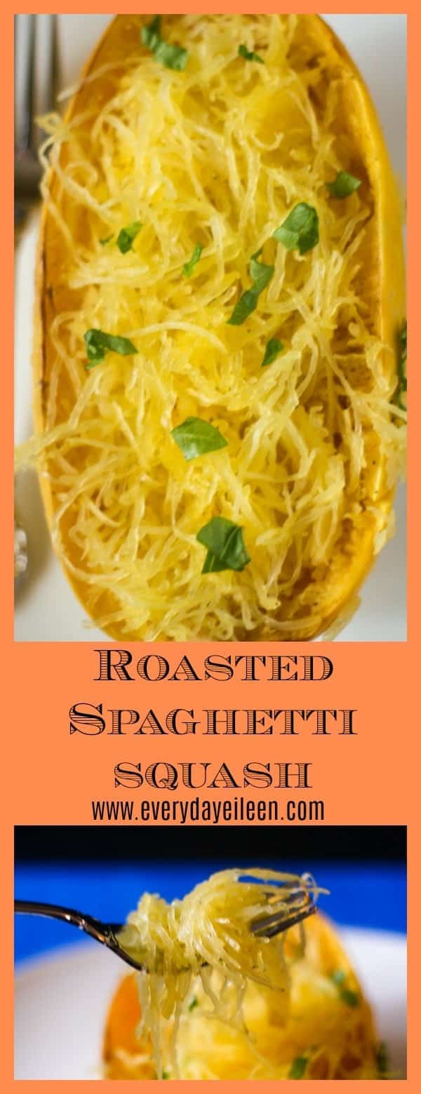 A collage of healthy roasted spaghetti squash sprinkled with basil. The bottom photo is a side view of baked spaghetti squash on a fork as spaghetti squash spaghetti