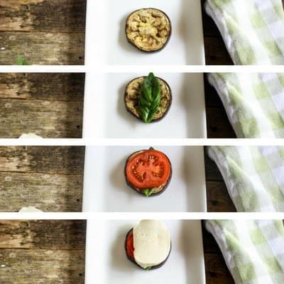 A collage of photos of delicious Grilled Eggplant Stack giving the layers of eggplant, fresh basil, vine-ripe juicy tomatoes, and fresh mozzarella.