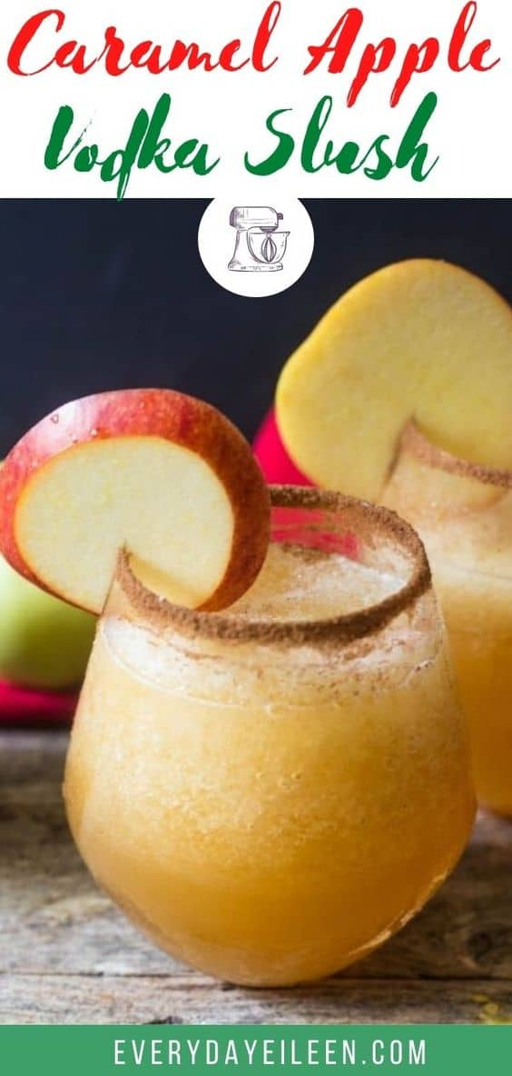 Caramel Apple Cider Vodka Slush is the perfect autumn cocktail. A great cocktail to enjoy after a day of pumpkin picking! Perfect for a Thanksgiving brunch too! A low-fat cocktail made with just 2 ingredients and ice! #appleweek #caramelapple #caramelvodka #vodkaslush #everydayeileen via @/everydayeileen/