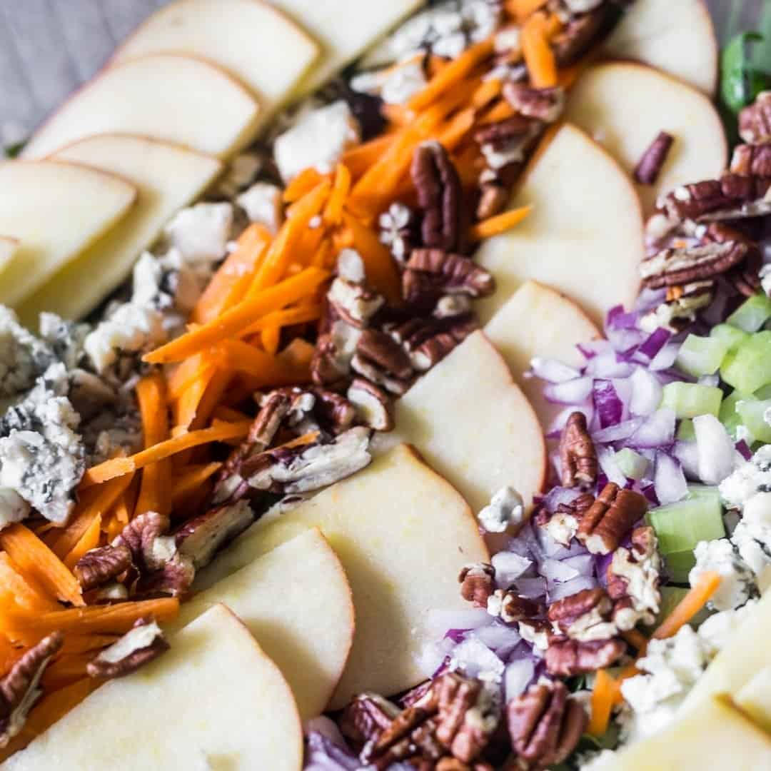 apple pecan salad with its toppings, shredded carrots, apples, red onions, and pecans