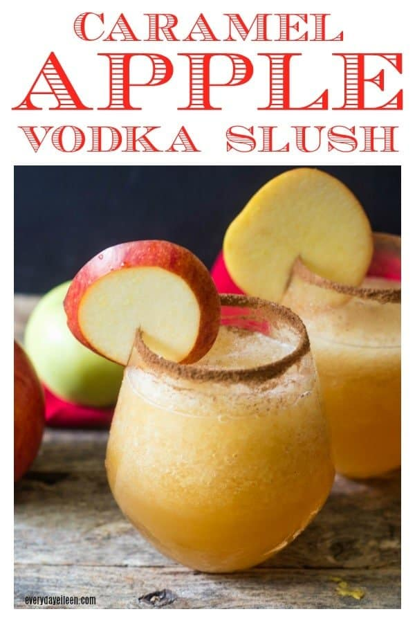a picture collage for Pinterest of Caramel Apple Cider Vodka Slush on a wooden table