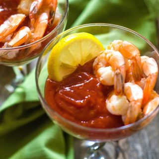 homemade cocktail sauce served with fresh poached shrimp