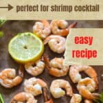 Cooked shrimp on a baking pan.