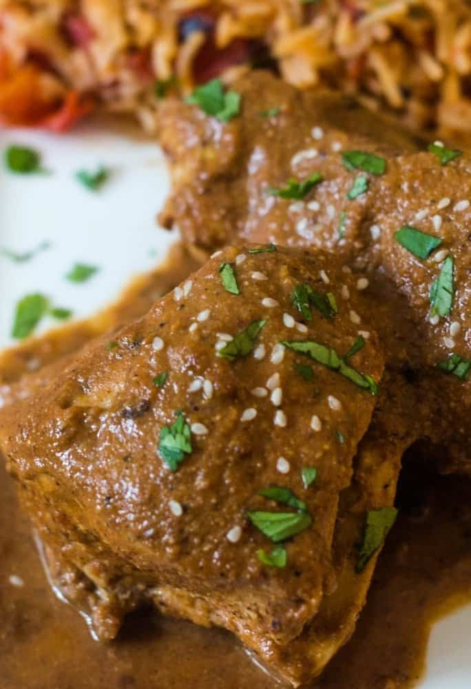 chicken breast with a mole sauce topped with pepitas, sesame seeds, and chopped cilantro