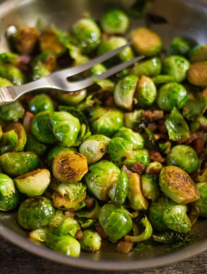 Brussels Sprouts with Prosciutto already sauteed in a large saute pan