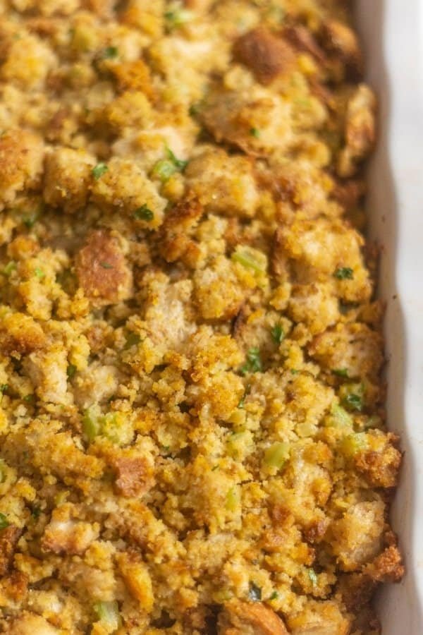 Flavorful Southern Cornbread Dressing in a large white casserole dish!