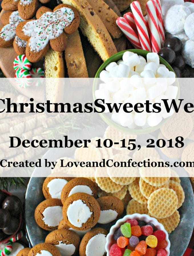 collage of holiday sweets for Christmas Sweets Week