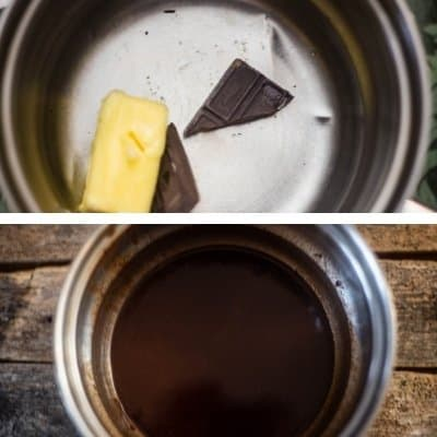 Chocolate and butter melting in top photo and bottom photo is the combo of butter and chocolate melted to make chocolate crinkle cookies.