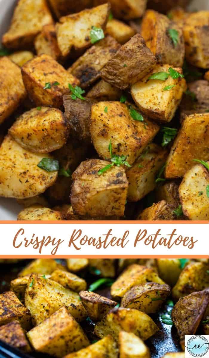 The best oven roasted potato recipe is crispy on the outside and creamy inside. Perfectly seasoned potatoes with additional varieties to change up your flavors. #ovenroastedpotatoes #crispyroastedpotatoes #roastedpotatoes #everydayeileen via @/everydayeileen/