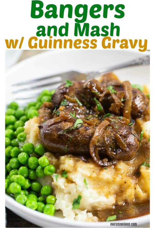 Delicious Irish Bangers with caramelized onions and Guinness gravy over mashed potatoes and green peas. Delicious sausages in a rich brown gravy! #bangersandmash #stpatricksday #Irishfood #sausagesandgravy #everydayeileen #Guinnessgravy via @/everydayeileen/
