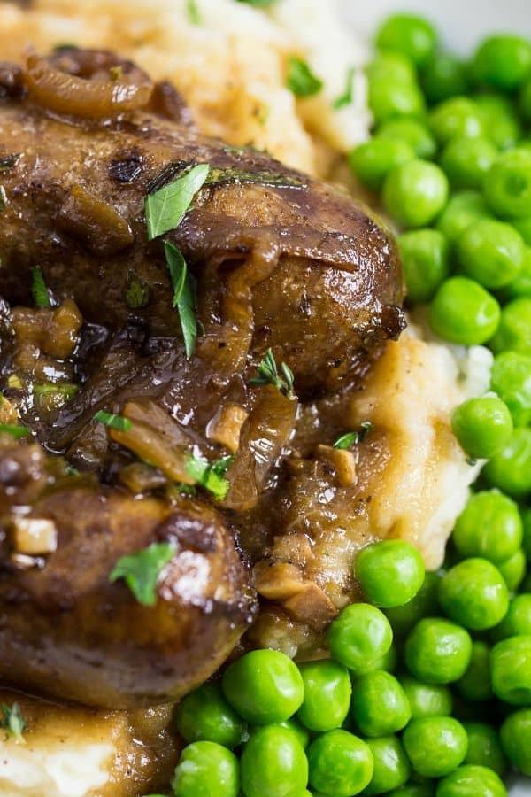 Bangers and Mash, Irish sausage and mashed potatoes with green peas!