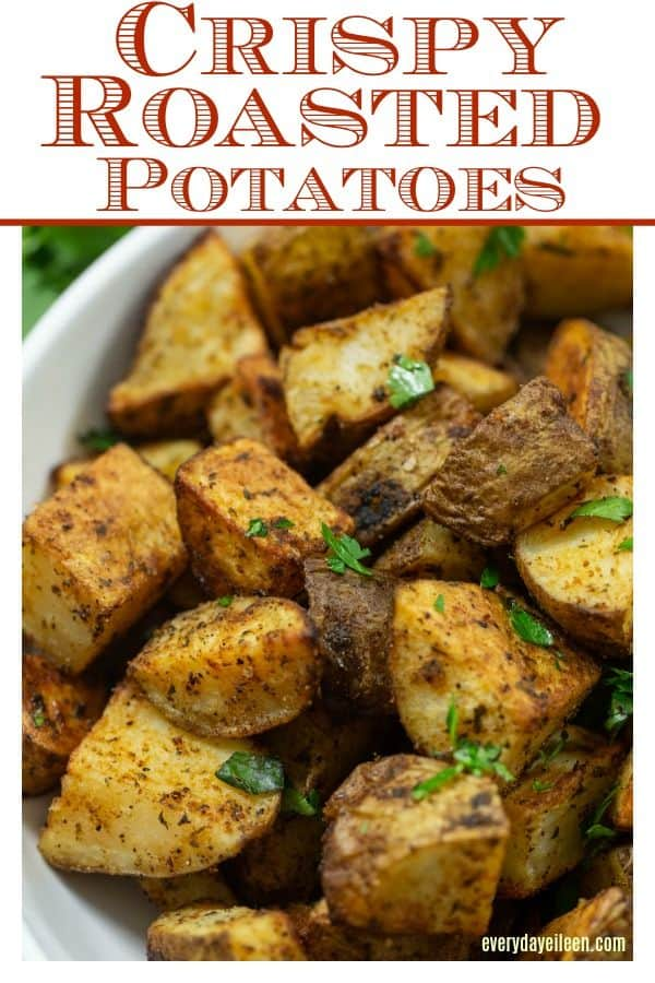 pinterest image of delicious crispy roasted potatoes with seasoning,