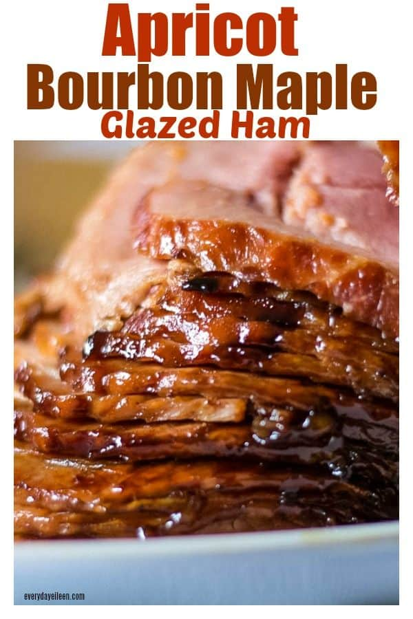 delicious maple glazed spiral ham that is ready to be served on a white platter