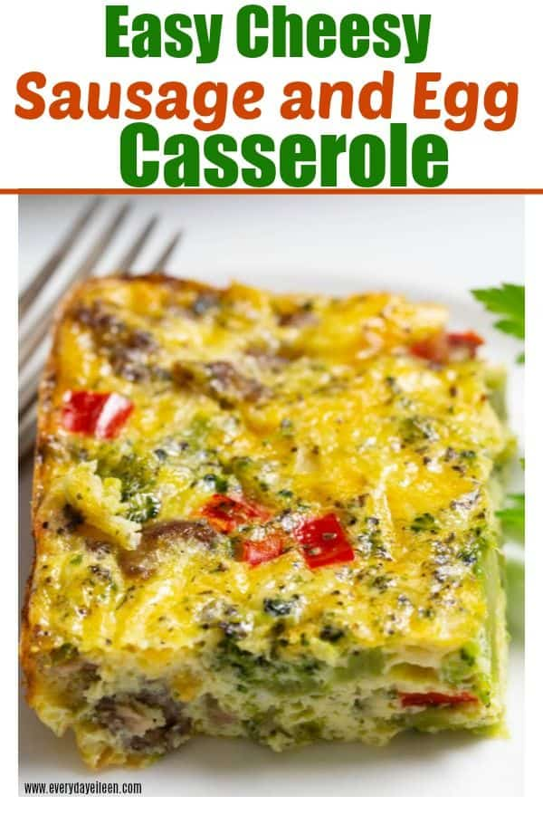 A breakfast casserole made with eggs, sausage, veggies, and cheese! Perfect for Easter Brunch, Holiday and Mother's Day brunch! Low-carb casserole made without potatoes or bread! #ad #EasterBrunchWeek #MadeWithEB #breakfastcasserole #lowcarbeggs #everydayeileen via @/everydayeileen/