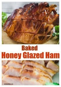 Baked honey glazed ham collage with th whole smoked ham on top. sliced ham on the bottom.