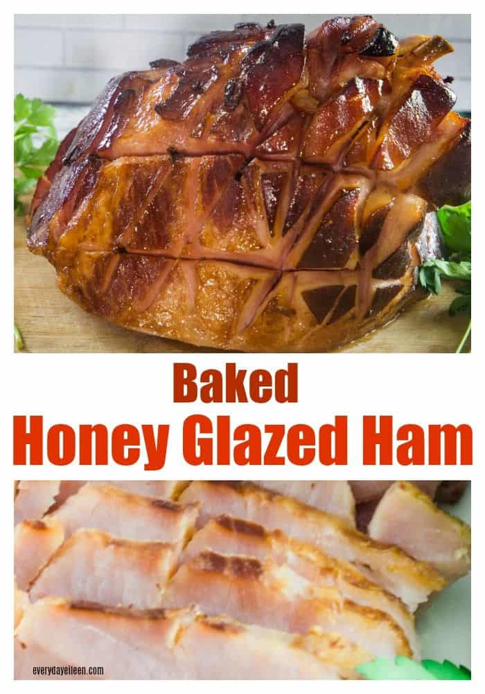 Honey Glazed Ham! The most delicious glaze from honey, brown sugar, and beer and the meat is always tender and flavorful! Perfect on spiral ham too! Serve at Easter, Thanksgiving Christmas. #Easter #Ham #ChristmasHam #Holidayeating #everydayeileen via @/everydayeileen/
