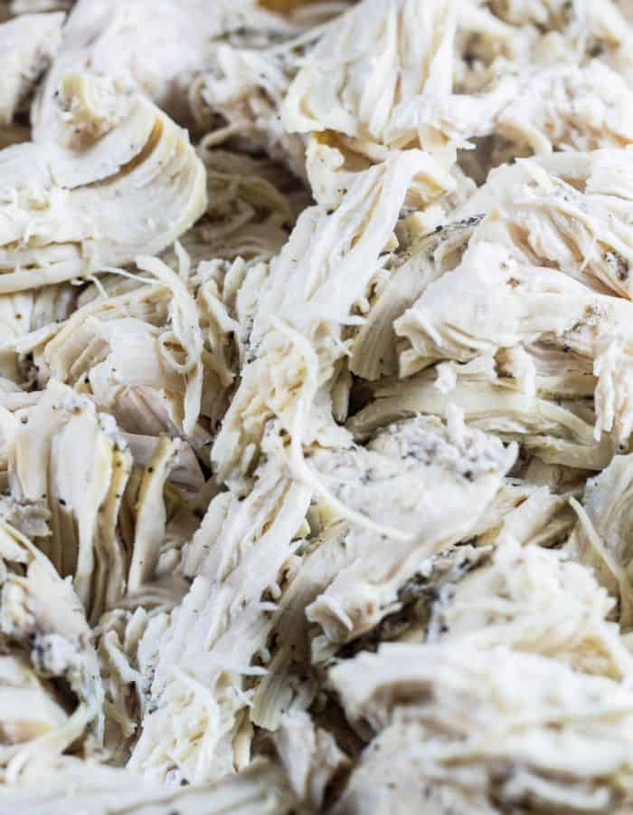 Instant Pot Shredded Chicken, used for so many recipes including quesadillas, tacos, buffalo dip.