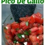 Fresh tomato salsa in a glass bowl with a tortilla chip in the bowl.