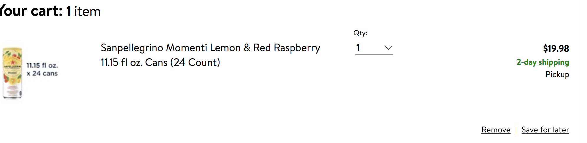 A screen shot of an order of SANPELLEGRINO® Momenti Lemon & Red Raspberry