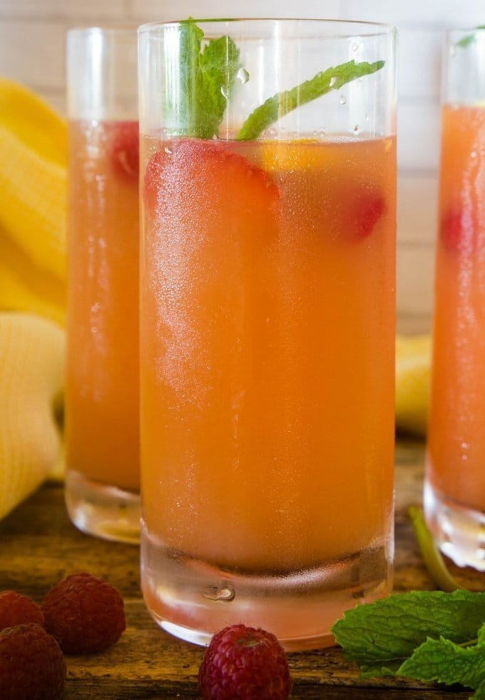 delicious summer punch topped with mint