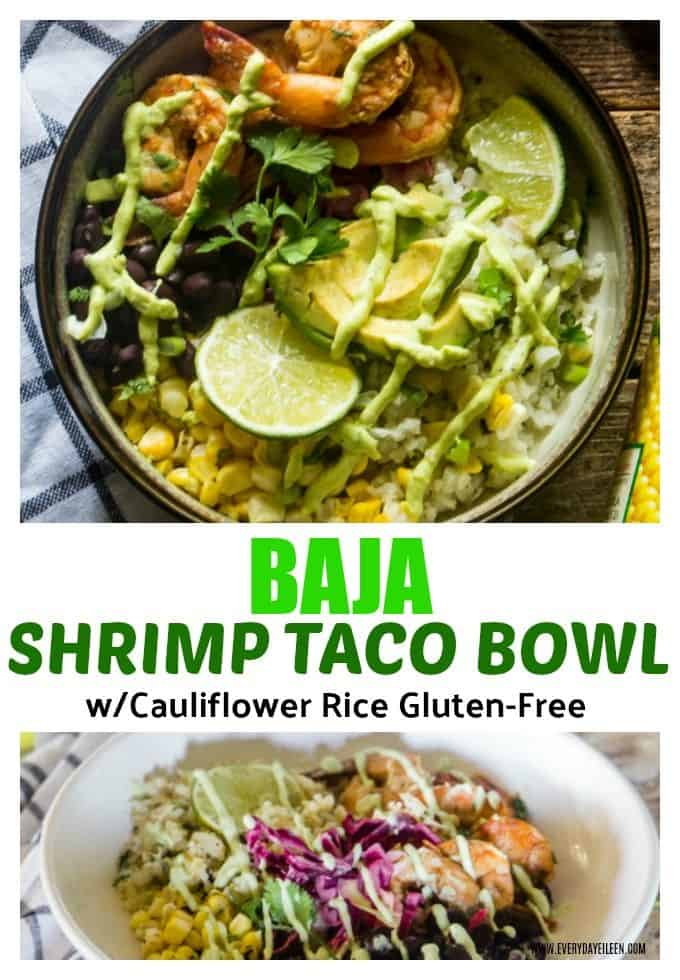 Enjoy all the flavors of a Baja Shrimp Taco in a tasty taco bowl! Sauteed shrimp and cauliflower rice are full of flavor. Top the bowl with Avocado Yogurt Dressing! #ad #MarinadesWithMazola #MakeItWithHeart #shrimpbowl #tacobowl  via @/everydayeileen/