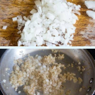A collage of onions showing them raw and then sauteed in a pan.