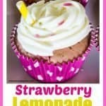 strawberry cupcakes topped with lemon frosting and pink sprinkles