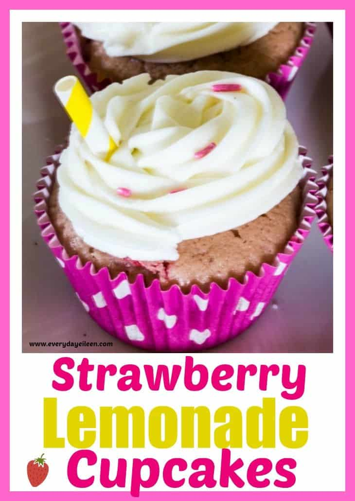 Strawberry Lemonade Cupcakes are delicious light and fluffy made from scratch cupcakes! Filled with fresh strawberry puree and strawberries. Topped with tangy lemon buttercream. Pretty cupcakes perfect for summer parties, showers, birthday parties! #ad #SummerDessertWeek #strawberrylemonadecupcakes #madefromscratchcupcakes #lemonbuttercream #strawberry cupcakes #everydayeileen via @/everydayeileen/