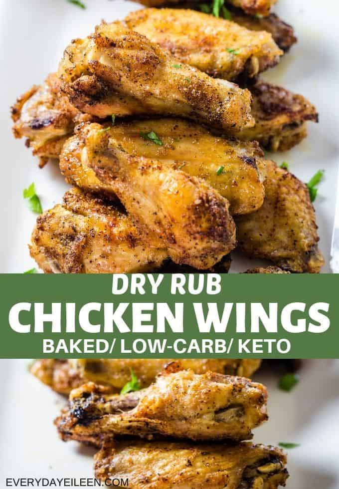 Oven-baked dry rub chicken wings are crispy on the outside and juicy, tender and delicious inside! A low-carb dry rub with instructions from mild to spicy wings! Perfect any night, family game night, great for a crowd. #dryrubwings #bakedwings #tailgatefood #everydayeileen via @/everydayeileen/