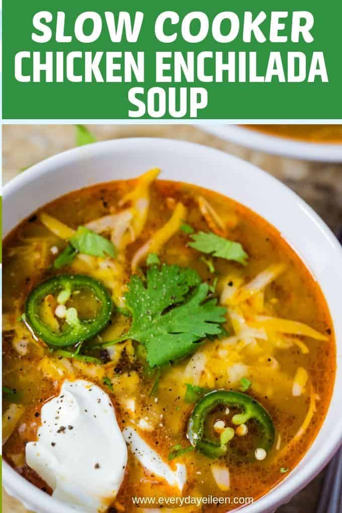 A nutritious Slow Cooker Chicken Enchilada Soup, easy prep, perfect for busy families. Naturally gluten-free. Stove top instructions included. #ad #Back2School #slowcookerenchiladasoup #slowcookersoup #everydayeileen via @/everydayeileen/