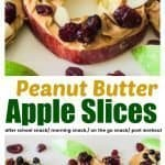 Delicious apple slices topped with peanut butter, dried fruits and sliced almonds